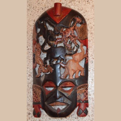 Masaai face and animal carving