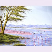 FLAMINGOES ON LAKE NORTON